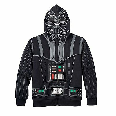 Darth Vader Star Wars Youth Boys L 14/16 Hoodie Full Face Zip Up Jacket Black