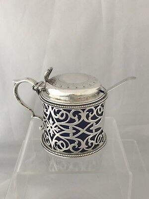 Victorian Silver Mustard Pot & Spoon 1878 London Jackson & Chase
