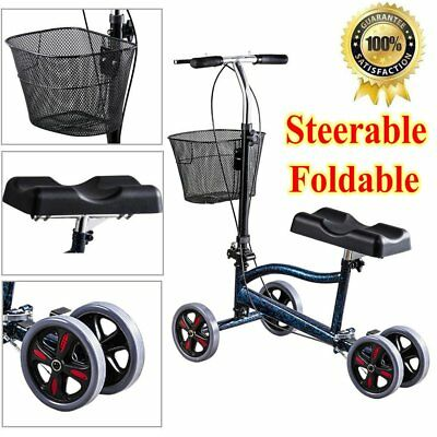 New Steerable Foldable Knee Walker Scooter Turning Brake Basket Drive Cart Blue