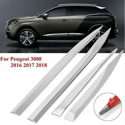 2016Up Peugeot 3008 2 II Chrome Side Door Streamer 4Door 4Pcs Stainless Steel