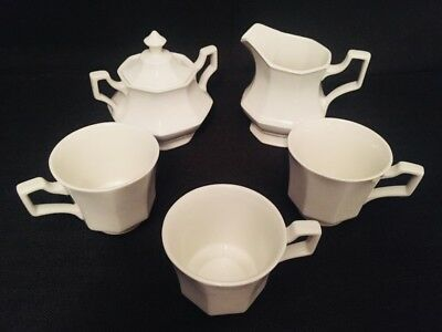 """Johnson Brothers Made in England """"Heritage White"""" Creamer, sugar bowl, cups"""