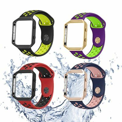 For Fitbit Blaze Replacement Silicone Sports Band Strap + Frame