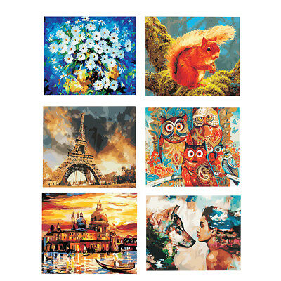 DIY Oil Painting Kit Paint by Numbers Canvas Brushes Home Wall Decoration