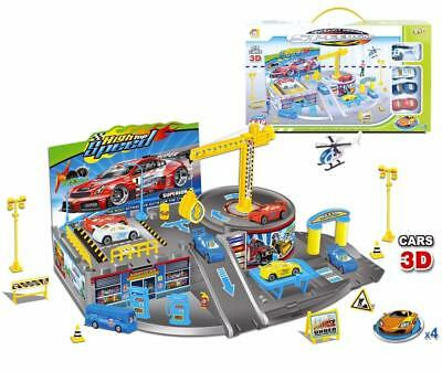 Kids Car Park Parking Garage Station Ramp with 3 Colourful Cars Play Set Toy