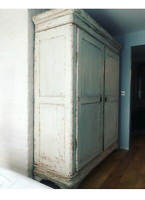 Antique Swedish Gustavian Wardrobe In Light Blue