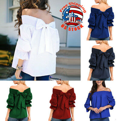 Sexy Womens Solid Off-Shoulder Tops Back Bowknot Blouse Fashion Shirt Plus Size
