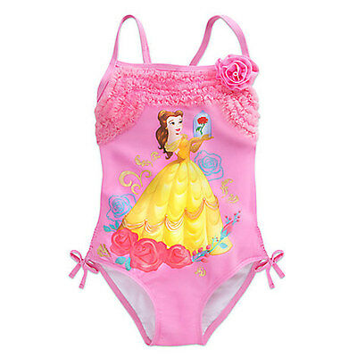 NWT Disney Store Princess Belle Swimsuit Beauty and The Beast UPF 50+ Girls