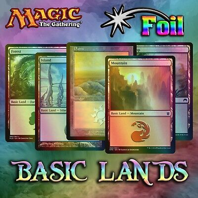 Choose Your **FOIL** Basic Land Cards - MTG - Many Sets Available