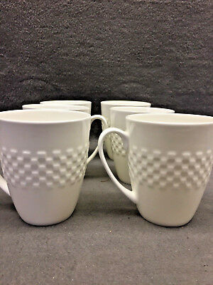SET OF 6 Roscher & Co Checkerboard Weave Large White Porcelain Mugs ...