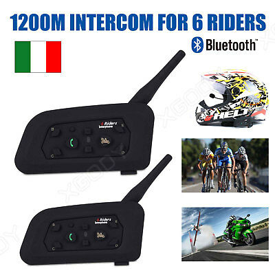 2pcs Bluetooth Moto Casco Interfono 6 Ciclista 1200M Cuffie Auricolari Headset