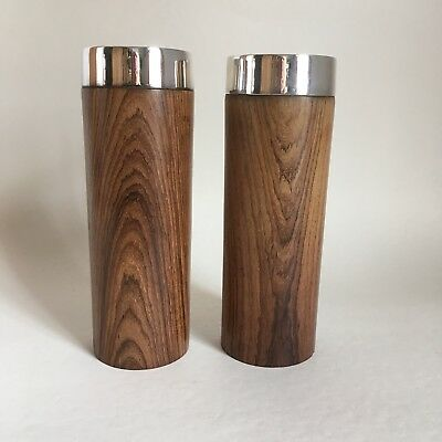 Pair Mid Century Modern Wood & Silver Metal Candlesticks