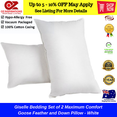 2 x LUXURY HOTEL GOOSE DOWN & FEATHERS PILLOWS PREMIUM QUALITY PILLOW