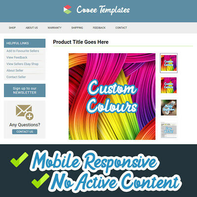 eBay Listing Template 2018 Mobile Responsive + Custom Colours + HTTPS