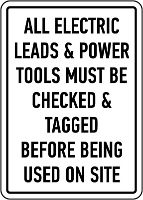 "Power Tools Must Be Checked Sign 8""x12"" .040″ Aluminum English/Spanish E2244"