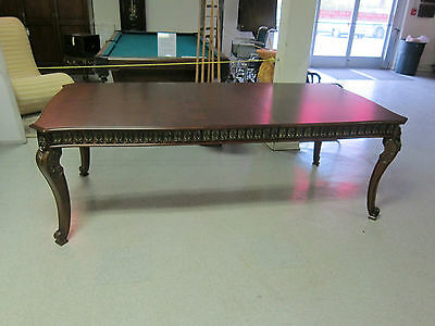 French Style Dining Table Carved Shell Motif and accented with Gold.