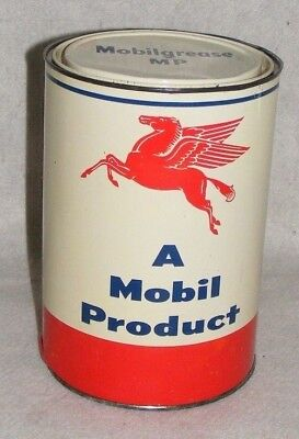 Mobil MOBILGREASE CAN 5 LBS. AUTHENTIC VTG 1950s RED PEGASUS LOGO