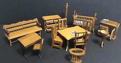 HUGE 15 PIECE Lot Vintage Miniature Dollhouse Furniture U0026 Accessories 1:12  ...