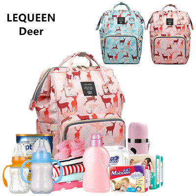 LEQUEEN  Deer Mummy Baby Diaper Bag Backpack Shoulder Bag handbag Tote Gift