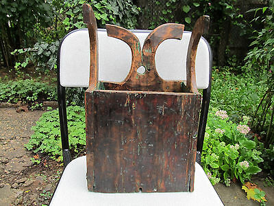 Antique Primitive Old Hand Carved Wooden Big Wall Hanging Kitchen Box For Spoons
