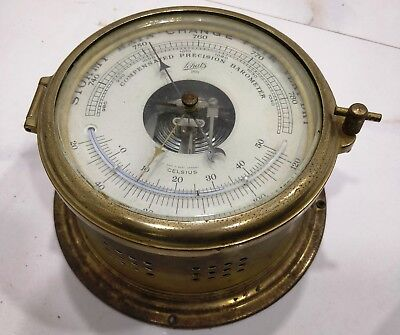 rare vintage marine brass ship compensated precision barometer made in germany