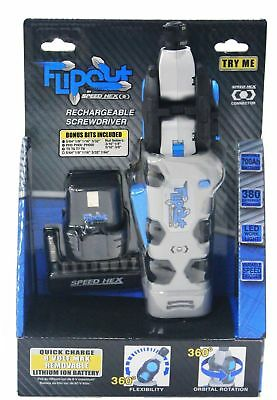 SpeedHex FlipOut 2 Rechargeable Power Driver with Removable Battery and Bits New