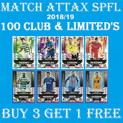 Match Attax SPFL 2018/19 LIMITED EDITION / 100 CLUB / 2019 GOLD SILVER BRONZE