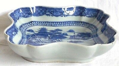 C19Th Chinese Blue And White Dish Decorated With A Lake And Temple Pattern