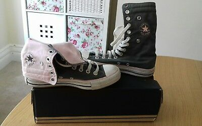 Converse All Star Trainers Ladies Size 4 UK Green   Pink Long Hi Top LOOK! 0735bf997