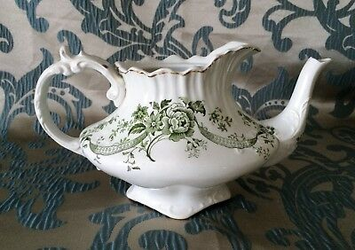 Antique 19th Century S. & Co. Myotts Crown 'Rose & Ribbon' Victorian Teapot