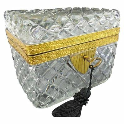 Antique French Cut Crystal Casket Hinged Box