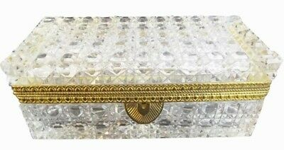 Antique French Cut Crystal Glove Casket Hinged Box