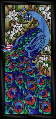Dzoz Stained Glass Peacock Window Door Picture Frame Tiffany Artwok furniture
