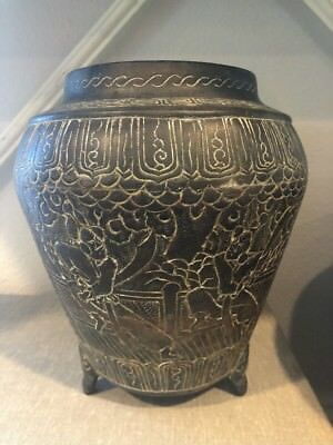 Antique Signed Asian Japanese Or Chinese? Bronze Vase Early Engraved Art