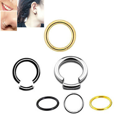 2pcs Septum Clicker Segment Ring Hoop Lip Nose Belly Nipple Ear Cartilage Tragus