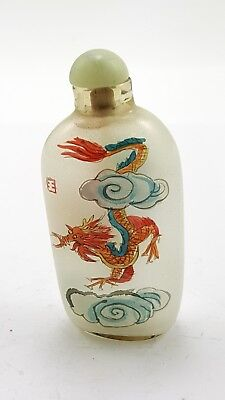 Vintage Chinese Glass Reverse Hand Paint Peking Snuff Bottle  - Dragon