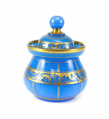 French Blue Opaline Hand Decorated Gilt Jar with Foliate Design, 19th Century