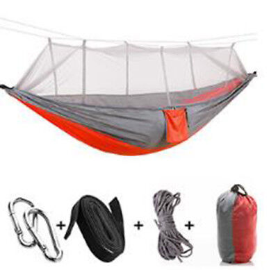 Double Outdoor 2 Person Travel Camping Hanging Hammock Bed With Mosquito Net