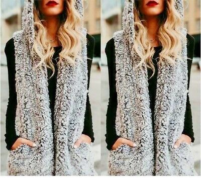 Winter Warm Thick Sleeveless Women Faux Fur Vest Hooded Polyester Coat Pockets