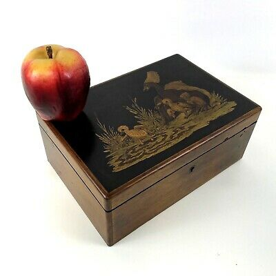 Antique 19th Century Mahogany Valuables Desk Box W/ Duck Ducklings Inlay work