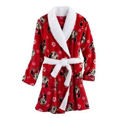 NWT $40-Girls Disney Minnie Mouse Red Micro Fleece Plush Winter Bath Robe-size 4