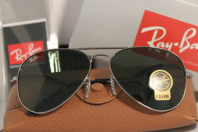 c38201a2d3c Ray Ban AVIATOR RB3025 W0879 Gunmetal Frame G-15 Green Lens 58mm Authentic  New
