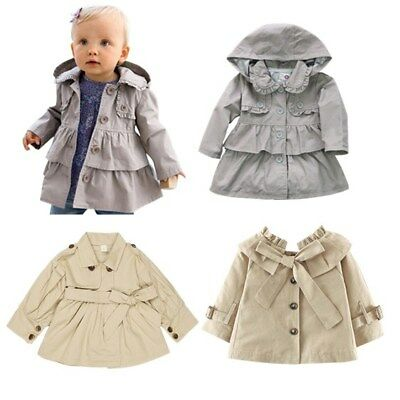 038af5a9c NEWBORN BABY JACKET Coat Cotton Bow Toddler Girls Trench Coat Kids ...