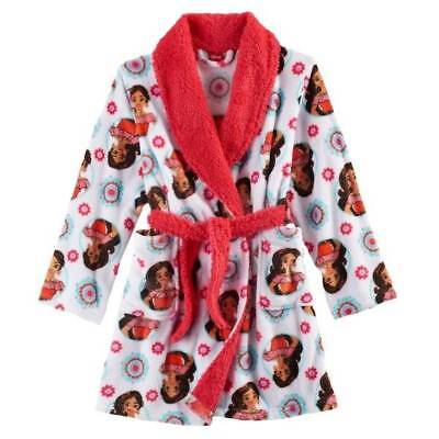 NWT $40-Girls Disney Elena of Avalor White Fleece Plush Winter Bath Robe- 4 & 8