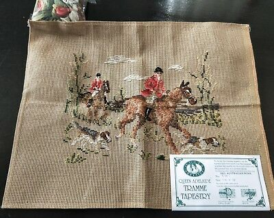 BRAND NEW QUEEN ADELAIDE Trammed TAPESTRY CANVAS & WOOL No. 541 Horses