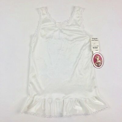 Vintage 90s Deadstock JCPenney Sleeveless Lace Trim Slip White Nylon Girls 6X