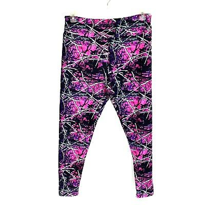 a294dca9863c59 Charlies Project Black Pink White Stick Camo Print Leggings Womens Size TC  14-22