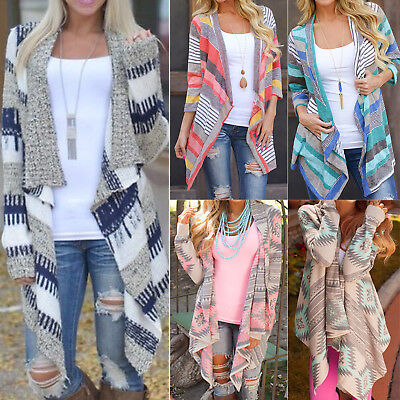 Women Irregular Waterfall Cardigan Sweater Poncho Shawl Coat Jacket Outwear Tops