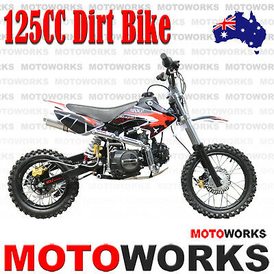 MOTOWORKS 125CC DIRT TRAIL PIT MOTOR 2 WHEELS PRO BIKE Kick start red