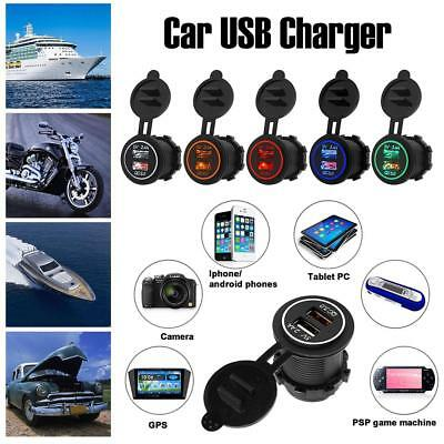 12V-24V Car Fast Charge QC 3.0 Dual USB Port Night Light Mobile Phone Charger