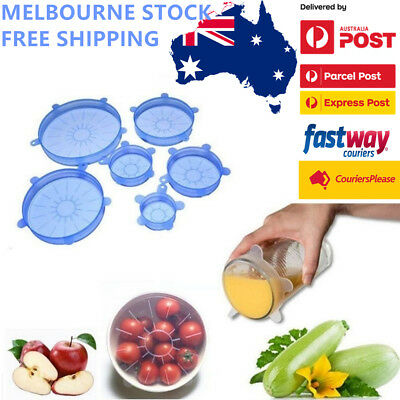Reusable Food Cover Fresh Keeping Sealing Stretch Lid Container Silicone 6/12 AU